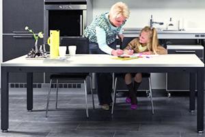 Hev-/senkmekanismer til skap, benker og bord