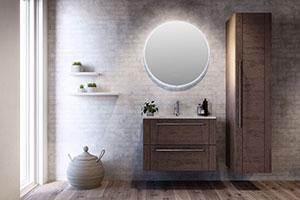 Rundt speil med berøringspanel